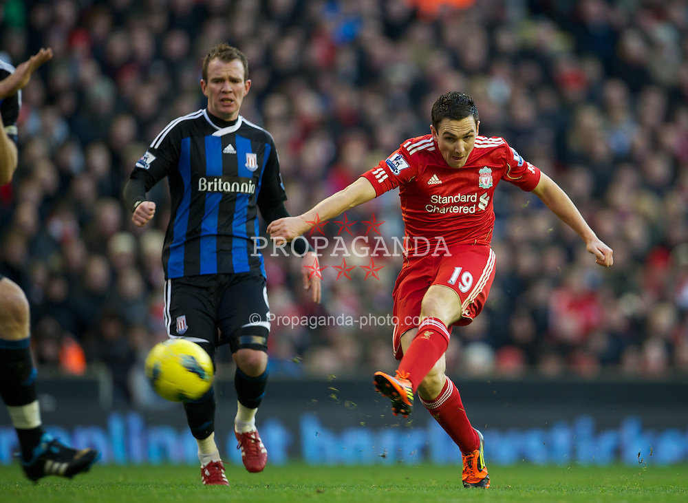 LIVERPOOL, ENGLAND - Saturday, January 14, 2012: Liverpool's Stewart Downing in action against Stoke City during the Premiership match at Anfield. (Pic by David Rawcliffe/Propaganda)