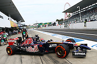 Max Verstappen (NLD) Scuderia Toro Rosso STR9 Test Driver leaves the pits.<br /> Japanese Grand Prix, Friday 3rd October 2014. Suzuka, Japan.