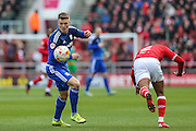 Cardiff City midfielder, Anthony Pilkington (13) wins the ball during the Sky Bet Championship match between Bristol City and Cardiff City at Ashton Gate, Bristol, England on 5 March 2016. Photo by Shane Healey.