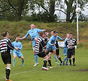 Former Dundee United and Scotland defender Gary Kenneth heads Fairfield's first goal in their 2-1 win over Cutty Sark (black and white) in the Dundee Sunday FA League Cup Final at Downfield Park<br /> <br />  - &copy; David Young - www.davidyoungphoto.co.uk - email: davidyoungphoto@gmail.com