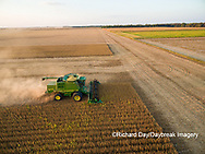 63801-09103 Soybean Harvest, John Deere combine harvesting soybeans - aerial - Marion Co. IL