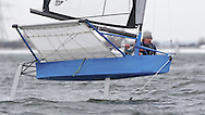 ENGLAND, London, Queen Mary Sailing Club, January 9th 2010, Bloody Mary Pursuit Race, International Moth 3366, Alex Adam, (Castle Cove SC). Boat preparation Pt 1