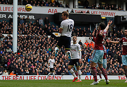 Tottenham Hotspur's Harry Kane heads the ball - Photo mandatory by-line: Mitchell Gunn/JMP - Mobile: 07966 386802 - 22/02/2015 - SPORT - football - London - White Hart Lane - Tottenham Hotspur v West Ham United - Barclays Premier League