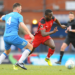 TELFORD COPYRIGHT MIKE SHERIDAN 16/2/2019 - Dan Udoh of AFC Telford takes on Jordan Keane of Stockport during the Vanarama Conference North fixture between Stockport County and AFC Telford United at Edgeley Park