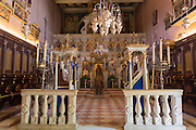 Ornate Greek Orthodox church with religious icons at Paleokastritsa Monastery, 13th Century in Corfu, , Greece