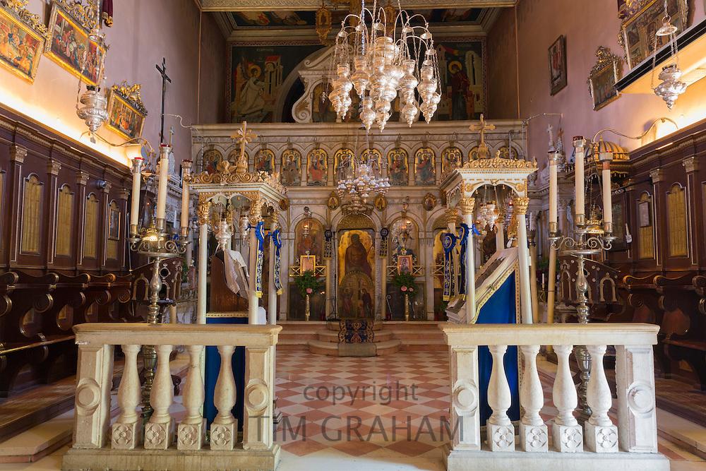 Ornate Greek Orthodox church with religious icons at Paleokastritsa Monastery, 13th Century in Corfu, , Greece