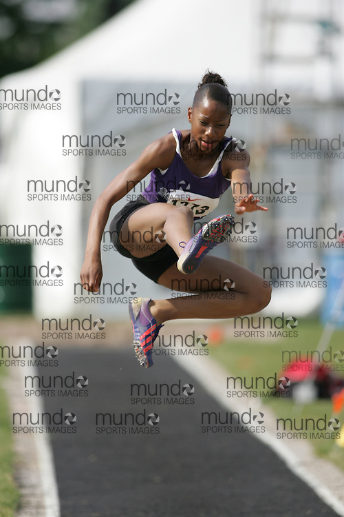 Hamilton, Ontario ---07/06/08--- Chanice Taylor-Chase of Notre Dame in Ajax competes in the long jump at the 2008 OFSAA Track and Field meet in Hamilton, Ontario..Sean Burges