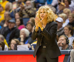 Oklahoma Sooners head coach Sherri Coale cheers her team against the West Virginia Mountaineers during the first half at the WVU Coliseum.