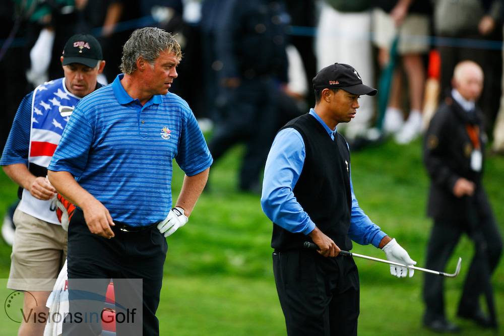 Darren Clarke and Tiger Woods on the second morning at the 36th Ryder Cup Matches 2006, K Club, Ireland, 060922<br /> Picture Credit: Mark Newcombe / visionsingolf.com