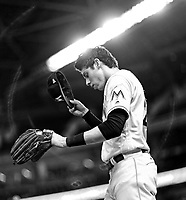 Christian Yelich during a MLB game between the St. Louis Cardinals and Miami Marlins at Hard Rock Stadium , in Miami  ,FL on 5.10.17.<br /> ( Photo/Tom DiPace)