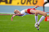 Justyna Kasprzycka from Poland competes in women's high jump final during the 14th IAAF World Athletics Championships at the Luzhniki stadium in Moscow on August 17, 2013.<br /> <br /> Russian Federation, Moscow, August 17, 2013<br /> <br /> Picture also available in RAW (NEF) or TIFF format on special request.<br /> <br /> For editorial use only. Any commercial or promotional use requires permission.<br /> <br /> Mandatory credit:<br /> Photo by © Adam Nurkiewicz / Mediasport