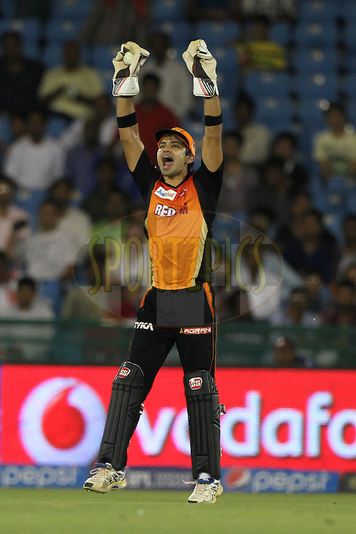 Naman Ohja of the Sunrisers Hyderabad appeals during match 45 of the Pepsi IPL 2015 (Indian Premier League) between The Delhi Daredevils and the Sunrisers Hyderabad held at the Shaheed Veer Narayan Singh International Cricket Stadium in Raipur, India on the 9th May 2015.<br /> <br /> Photo by:  Deepak Malik / SPORTZPICS / IPL