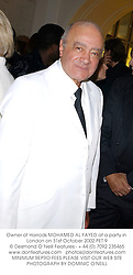 Owner of Harrods MOHAMED AL FAYED at a party in London on 31st October 2002.PET 9