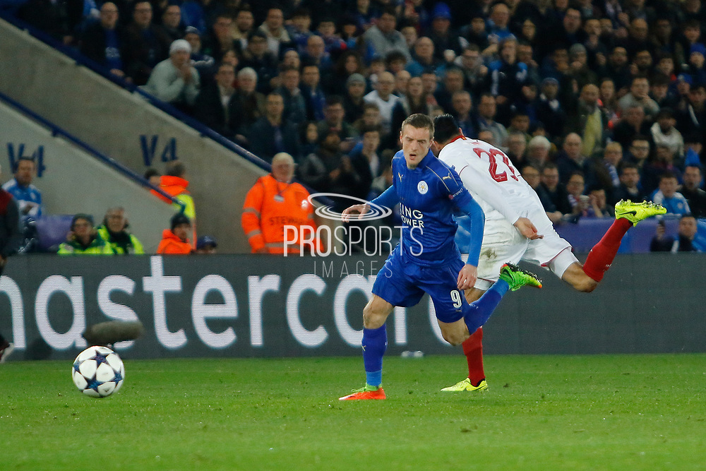 Leicester City Forward Jamie Vardy and Sevilla defender Adil Rami (23) during the Champions League round of 16, game 2 match between Leicester City and Sevilla at the King Power Stadium, Leicester, England on 14 March 2017. Photo by Richard Holmes.