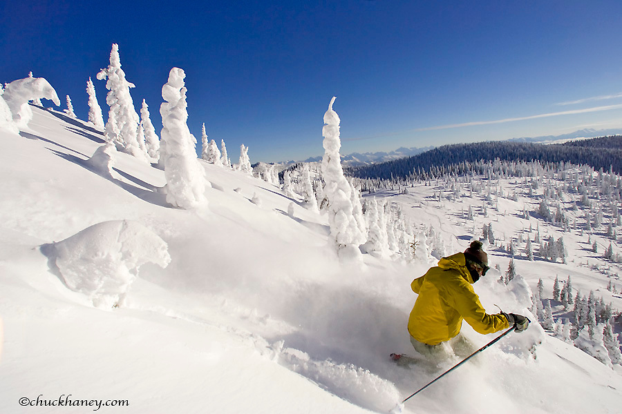 Telemark skiing through the snowghosts at Whitefish Mountain Resort in Montana model released