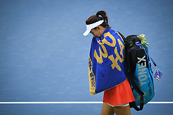 WUHAN, Sept. 28, 2018  Wang Qiang of China reacts after withdrawing from the singles semifinal match against Anett Kontaveit of Estonia at the 2018 WTA Wuhan Open tennis tournament in Wuhan, central China's Hubei Province, on Sept. 28, 2018. Anett Kontaveit advanced to the final after Wang Qiang withdrew due to injury. (Credit Image: © Liu Xu/Xinhua via ZUMA Wire)