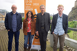2016 Edinburgh International Film Festival, (left to Right) Paul Savage (The Delgados), Emma Pollock (The delgados) Alex Kapranos (Franz Ferdinand) Niall McCann (Director)  during the WORLD PREMIERE (DOCUMENTARY) LOST IN FRANCE, The Apex Hotel Grassmarket, Edinburgh16th June 2016, (c) Brian Anderson | Edinburgh Elite media
