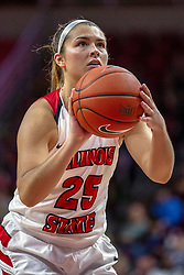 NORMAL, IL - December 20: Lexi Wallen shoots a free throw during a college women's basketball game between the ISU Redbirds and the St. Louis Billikens on December 20 2018 at Redbird Arena in Normal, IL. (Photo by Alan Look)