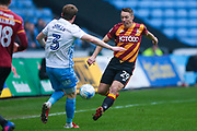 Coventry City defender Chris Stokes (3) and Bradford City defender Anthony McMahon (29) battle for the ball during the EFL Sky Bet League 1 match between Coventry City and Bradford City at the Ricoh Arena, Coventry, England on 11 March 2017. Photo by Simon Davies.