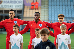 Dwight McNeil of England, Marc Guehi of England and Max Aarons of England before friendly Football match between U21 national teams of Slovenia and England, on October 11, 2019 in Ljudski Vrt, Maribor, Slovenia. Photo by Blaž Weindorfer / Sportida