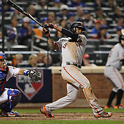 NEW YORK, NEW YORK - October 5: Denard Span #2 of the San Francisco Giants batting during the San Francisco Giants Vs New York Mets National League Wild Card game at Citi Field on October 5, 2016 in New York City. (Photo by Tim Clayton/Corbis via Getty Images)