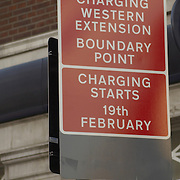 White-on-red C road sign at entrance of congestion charge zone, London
