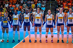 06-06-2018 NED: Volleyball Nations League Netherlands - Italy, Rotterdam<br /> Italy wins with 3-2 / Beatrice Parrocchiale #20 of Italy, /its17/, Paola Ogechi Egonu #18 of Italy, Camilla Mingardi #19 of Italy, Sarah Luisa Fahr #13 of Italy, Marina Lubian #15 of Italy