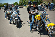 Candidate for New Mexico Lt-Governor Joseph Campos of Santa Rosa and his wife Christina lead a motorcycle Benefit Ride for UNM Children's Hospital from Albuquerque to Madrid New Mexico on May 16th 2010.