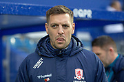 Middlesbrough manager Jonathan Woodgate during the EFL Sky Bet Championship match between Queens Park Rangers and Middlesbrough at the Kiyan Prince Foundation Stadium, London, England on 9 November 2019.