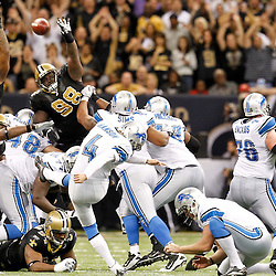 December 4, 2011; New Orleans, LA, USA; Detroit Lions place kicker Jason Hanson (4) misses a field goal against the New Orleans Saints during the fourth quarter of a game at the Mercedes-Benz Superdome. Mandatory Credit: Derick E. Hingle-US PRESSWIRE