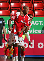 Photo: Lee Earle.<br /> Charlton Athletic v Sheffield Wednesday. Coca Cola Championship. 25/08/2007.Charlton's Chris Iwelumo (L) is congratulated by Jerome Thomas after he scored their second goal.