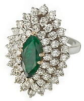 diamond cluster ring with and emerald