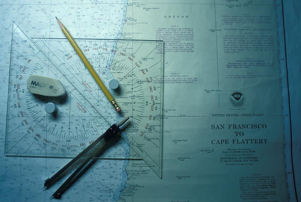 USA, California, Sea charts on oil tanker's bridge as it sails into San Francisco