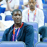 09 August 2012: Team France player Yakhouba Diawara is seen watching the game during 81-64 Team France victory over Team Russia, during the women's basketball semi-finals, at the 02 Arena, in London, Great Britain.