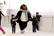 Parker the Penquin during a session with the ice rink's mascot at the RiverScape MetroPark in downtown Dayton, Sunday, January 22, 2012.
