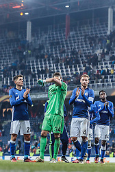 08.12.2016, Red Bull Arena, Salzburg, AUT, UEFA EL, FC Red Bull Salzburg vs Schalke 04, Gruppe I, im Bild Alessandro Schoepf (FC Schalke 04), Fabian Giefer (FC Schalke 04), Benedikt Hoewedes (FC Schalke 04), Abdul Baba Rahman (FC Schalke 04) // Alessandro Schoepf (FC Schalke 04), Fabian Giefer (FC Schalke 04), Benedikt Hoewedes (FC Schalke 04), Abdul Baba Rahman (FC Schalke 04) during the UEFA Europa League group I match between FC Red Bull Salzburg and Schalke 04 at the Red Bull Arena in Salzburg, Austria on 2016/12/08. EXPA Pictures © 2016, PhotoCredit: EXPA/ JFK