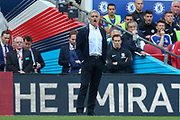 Manchester United Manager Jose Mourinho shouts instructions during the FA Cup Final between Chelsea and Manchester United at Wembley Stadium, London, England on 19 May 2018. Picture by Phil Duncan.