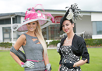Jill Macken from Meath (Winner Anthony Ryan?s Best Dressed Lady Galway Races 2006) and Suzanne McGarry from Sligo (Winner Anthony Ryan?s Best Dressed Lady Galway Races 2011)  at the launch of the  Anthony Ryan?s Best Dressed Lady on the 2nd of August 2012  at the Galway Races. Photo:Andrew Downes.