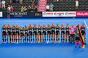 German team during their national anthem at the Vitality Hockey Women's World Cup 2018 Pool C match between Germany and Argentina at the Lee Valley Hockey and Tennis Centre, QE Olympic Park, United Kingdom on 25 July 2018. Picture by Martin Cole.