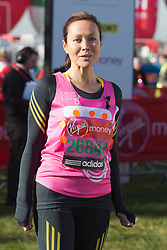 © Licensed to London News Pictures. 21/04/2013. London, England. Actress Amanda Mealing. Celebrity Runners at a photocall before the start of the Virgin London Marathon 2013 race. Many wore black ribbons to pay their respect for those who died or were injured in the Boston Marathon. Photo credit: Bettina Strenske/LNP