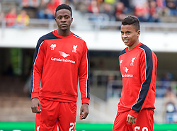 HELSINKI, FINLAND - Friday, July 31, 2015: Liverpool's new faces Allan Rodrigues de Sousa and Divock Origi warm up before a friendly match against HJK Helsinki at the Olympic Stadium. (Pic by David Rawcliffe/Propaganda)