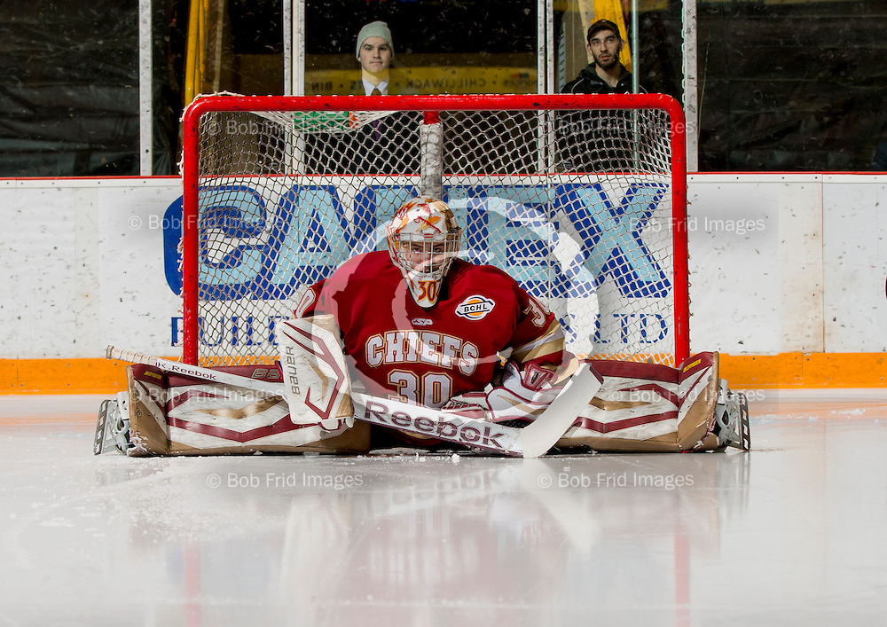 01 March 2014:  goalie Josh Halpenny (30) of the Chiefs  during a game between the Chilliwack Chiefs and the Coquitlam Express at Prospera Centre, Chilliwack, BC.    ****(Photo by Bob Frid - All Rights Reserved 2014): mobile: 778-834-2455 : email: bob.frid@shaw.ca ****