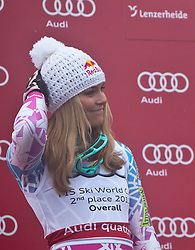 19.03.2011, Pista Silvano Beltrametti, Lenzerheide, SUI, FIS Ski Worldcup, Finale, Lenzerheide, Slalom Herren, im Bild die zweitplatzierte im Damen Gesamtweltcup Lindsay Vonn (USA) fasst sich an den Kopf, als der Stadionsprecher Gesamtweltcup Siegerin, Damen, Maria Riesch (GER) aufruft, Zielraum auf der Lenzerheide. //  the second place in the women's overall World Cup Lindsay Vonn (USA) holds his head as the announcer overall World Cup winner, ladies, Maria Riesch (GER) calls during Men´s Downhill, at Pista Silvano Beltrametti, in Lenzerheide, Switzerland, 18/03/2011, EXPA Pictures © 2011, PhotoCredit: EXPA/ J. Feichter