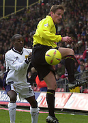 28/02/2004  -  Nationwide Div 1 Watford v Wimbledon.Watfords Neal Ardley, redirect the ball as Wimbledon's Peter Hawkins challenges.