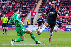 Britt Assombalonga of Middlesbrough attempts to cut out a clearance by Lewis Price of Rotherham United - Mandatory by-line: Ryan Crockett/JMP - 05/05/2019 - FOOTBALL - Aesseal New York Stadium - Rotherham, England - Rotherham United v Middlesbrough - Sky Bet Championship
