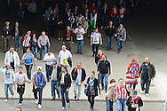 General view showing fans arriving at the stadium through an entrance tunnel pictured ahead of the UEFA Champions League Final at Estádio da Luz, Lisbon<br /> Picture by Ian Wadkins/Focus Images Ltd +44 7877 568959<br /> 24/05/2014