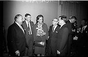 28/06/1965<br /> 06/28/1965<br /> 28 June 1965<br /> Reception for presentation of funding by W.D. & H.O., Wills to Glenageary Horse Show Committee at the Royal Marine Hotel, Dun Laoghaire, Dublin. Image shows (l-r): Mr. T.W.W. Irvine, Factory Manager, (Wills); Mr. P.T. Finnnigan, P.R.O., Show Committee; Mrs. R. Belton,  Show Committee member; Mr. Fred Hodkinson, Committee Member and Mr. D.J. Byrne, Assistant Factory Manager (Wills).