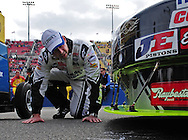 Feb. 21, 2010; Fontana, CA, USA; NASCAR Sprint Cup Series crew chief Chad Knaus prior to the Auto Club 500 at Auto Club Speedway. Mandatory Credit: Jennifer Stewart-US PRESSWIRE