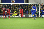 GOAL Dean Parrett scores a penalty 3-0 during the EFL Sky Bet League 1 match between AFC Wimbledon and Rochdale at the Cherry Red Records Stadium, Kingston, England on 28 March 2017. Photo by Daniel Youngs.