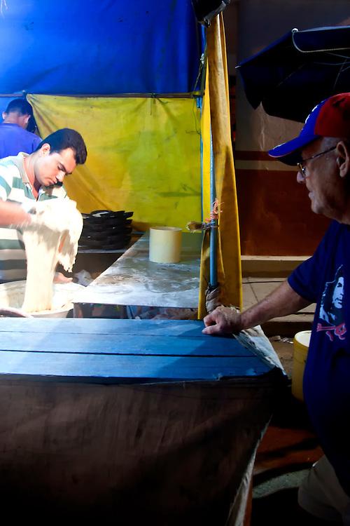 Making pizza in Gibara, Holguin, Cuba.